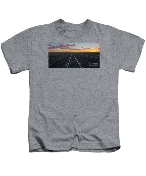 Tracks Into Sunset Kids T-Shirt