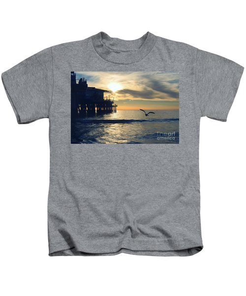 Seagull Pier Sunrise Seascape C1 Kids T-Shirt