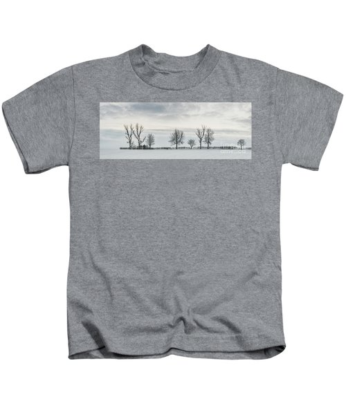 Treeline In Snow, England Kids T-Shirt