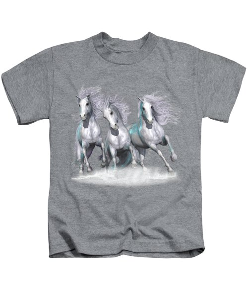 Trinity Galloping Horses Blue Kids T-Shirt