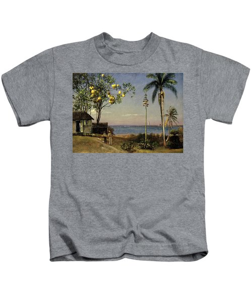Tropical Scene Kids T-Shirt by Albert Bierstadt