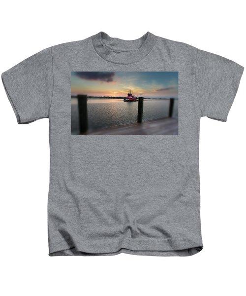 Tug Boat Sunset Kids T-Shirt