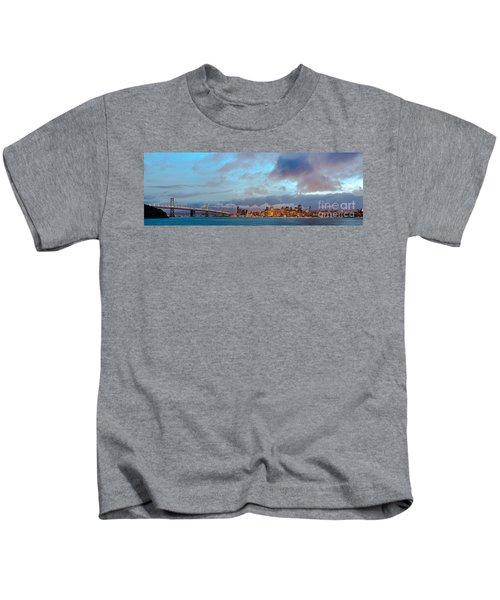 Twilight Panorama Of San Francisco Skyline And Bay Area Bridge From Treasure Island - California Kids T-Shirt