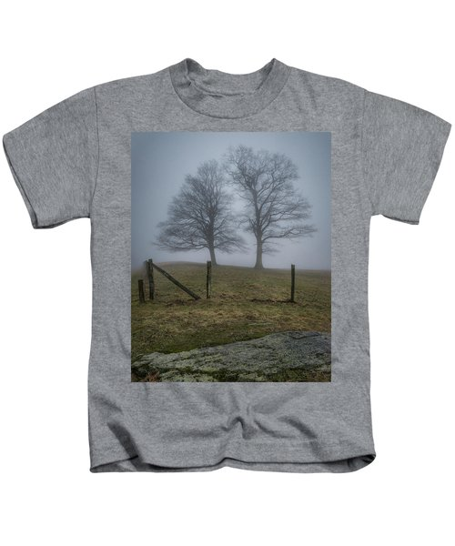 Twin Trees Late Fall Foggy Morning Kids T-Shirt