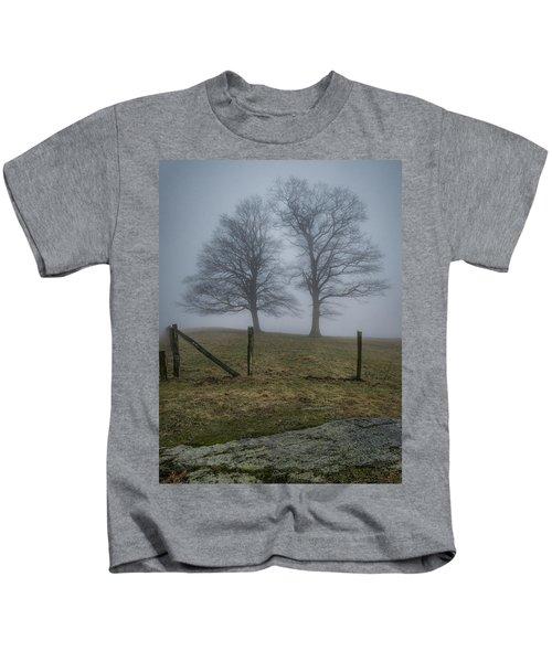 Twin Trees Late Fall Foggy Morning Kids T-Shirt