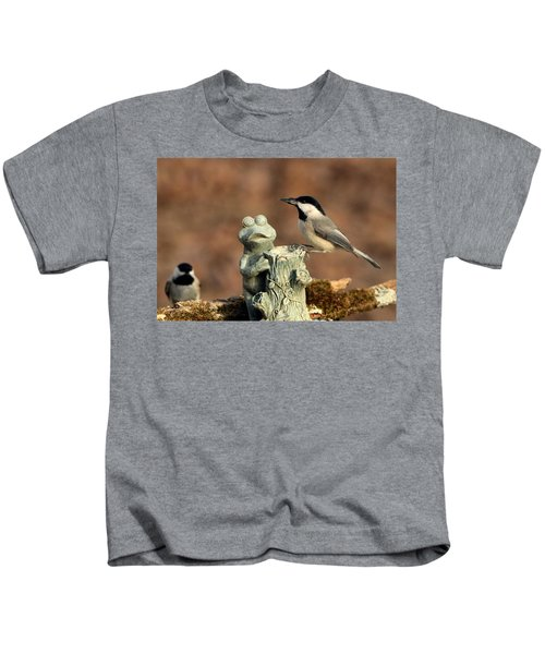 Two Black-capped Chickadees And Frog Kids T-Shirt