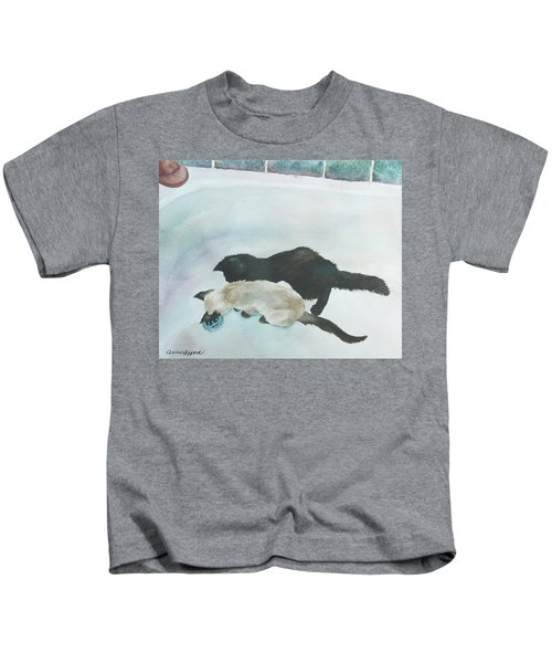 Two Cats In A Tub Kids T-Shirt