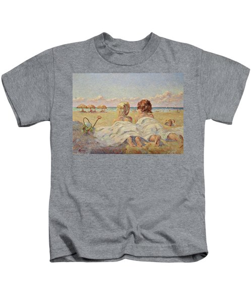 Two Children On The Beach Kids T-Shirt