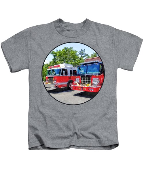 Two Fire Engines In Front Of Firehouse Kids T-Shirt