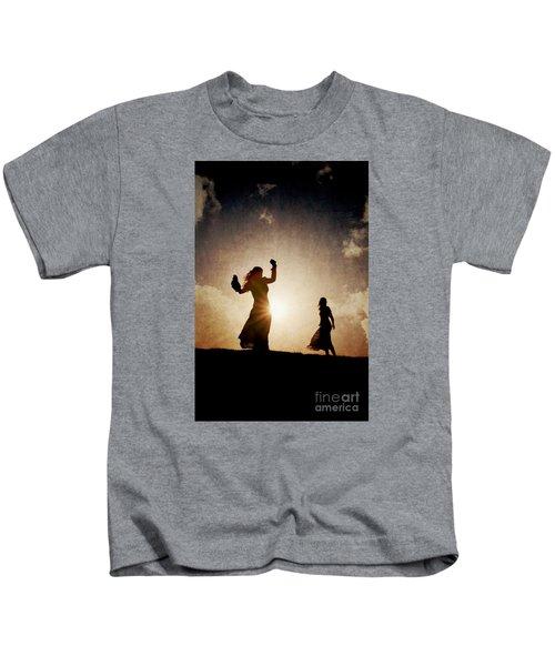 Two Women Dancing At Sunset Kids T-Shirt
