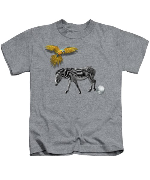 Two Zebras And Macaw Kids T-Shirt by iMia dEsigN