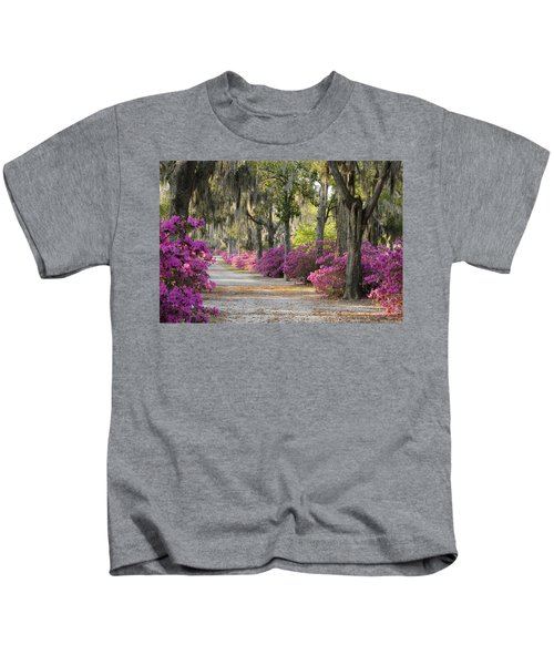 Unpaved Road With Azaleas And Oaks Kids T-Shirt