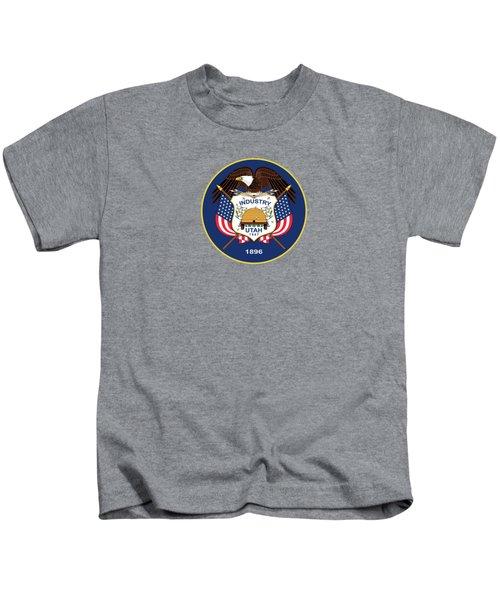 Utah State Flag Authentic Version Kids T-Shirt