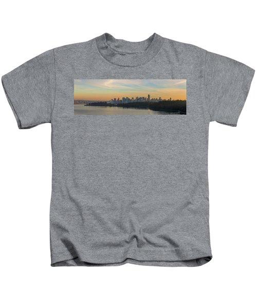 Vancouver Bc Skyline Along Stanley Park At Sunset Kids T-Shirt