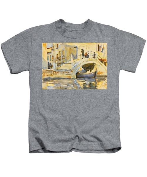 Venice. Bridge With Figures  Kids T-Shirt