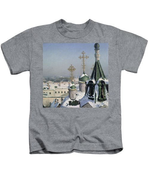 View From A Window Of The Moscow School Of Painting Kids T-Shirt by Sergei Ivanovich Svetoslavsky