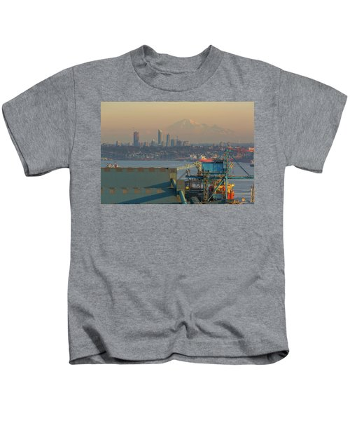View Of Mount Baker And Vancouver Bc At Sunset Kids T-Shirt