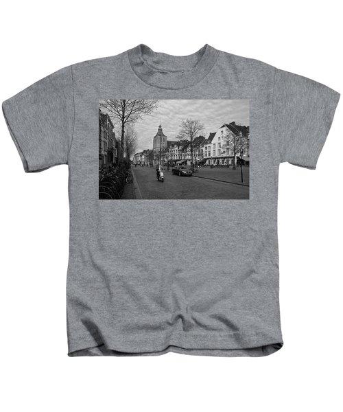 View To The Bosch Street In Maastricht Kids T-Shirt by Nop Briex