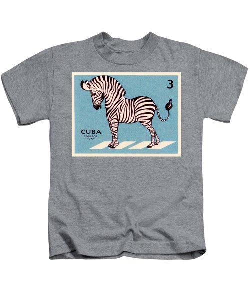 Vintage 1970 Cuba Zebra Postage Stamp Kids T-Shirt