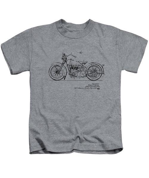 Vintage Harley-davidson Motorcycle 1928 Patent Artwork Kids T-Shirt