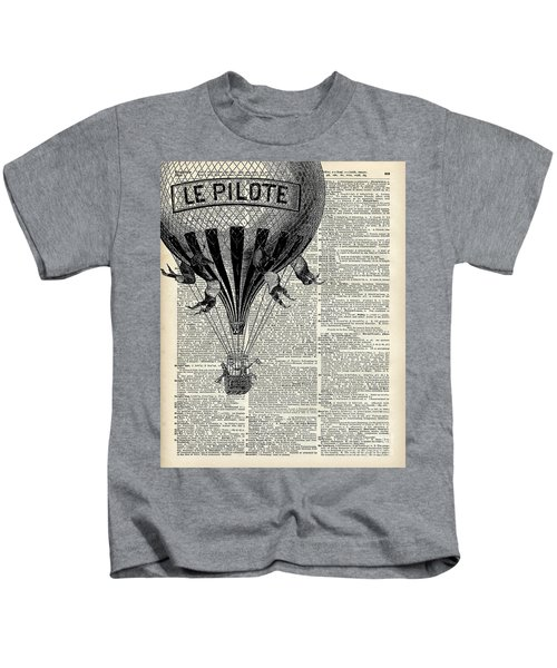 Vintage Hot Air Balloon Illustration,antique Dictionary Book Page Design Kids T-Shirt