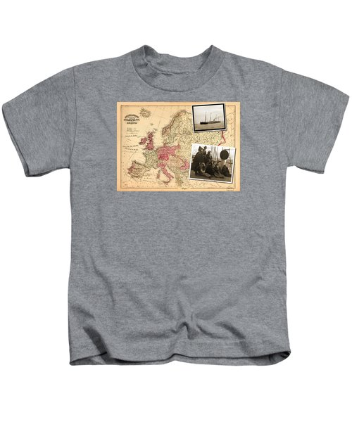 Vintage Map Europe To New York Kids T-Shirt