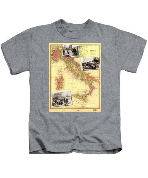 Vintage Map Of Italy Genealogy Map Kids T-Shirt