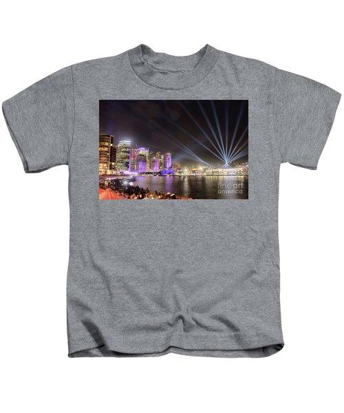 Vivid Sydney Skyline By Kaye Menner Kids T-Shirt by Kaye Menner