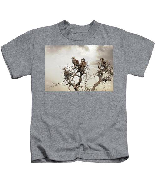 Vultures In A Dead Tree.  Kids T-Shirt by Jane Rix