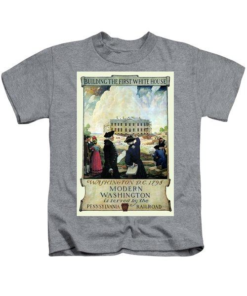 Washington D C Vintage Travel 1932 Kids T-Shirt by Daniel Hagerman