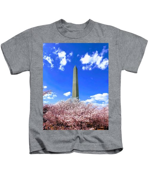 Kids T-Shirt featuring the photograph Washington Monument Cherry Blossoms by Chris Montcalmo