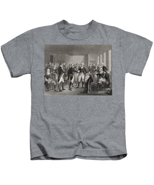 Washington Parting From His Officers At Fraunces Tavern, New York City, Usa, On December 4th 1783 Kids T-Shirt