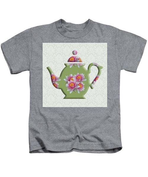 Water Lily Pattern Teapot Kids T-Shirt