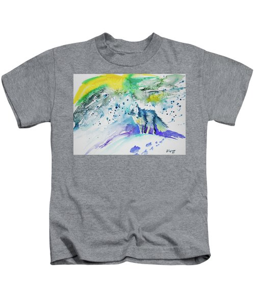 Watercolor - Arctic Fox Kids T-Shirt