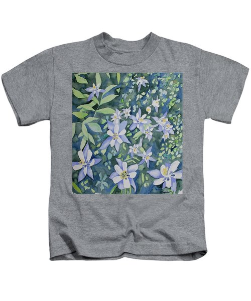 Watercolor - Blue Columbine Wildflowers Kids T-Shirt
