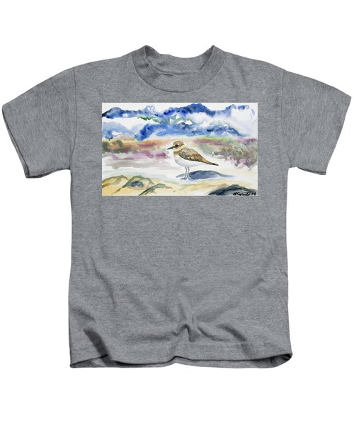 Watercolor - Double-banded Plover On The Beach Kids T-Shirt