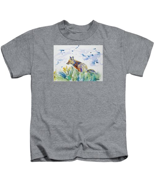 Watercolor - Fox On The Lookout Kids T-Shirt