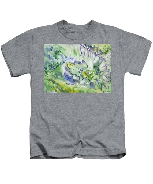 Watercolor - Leaves And Textures Of Nature Kids T-Shirt
