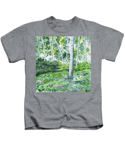 Watercolor - Spring Forest And Flowers Kids T-Shirt