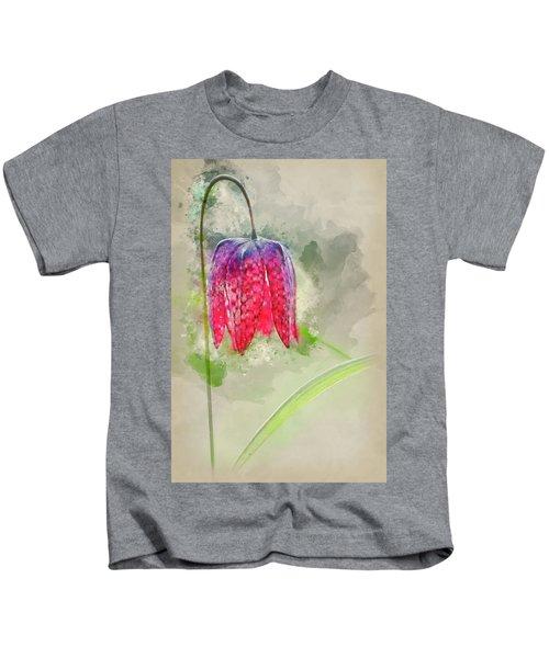 Watercolour Painting Of Single Snake's Head Fertillery Fresh Spr Kids T-Shirt