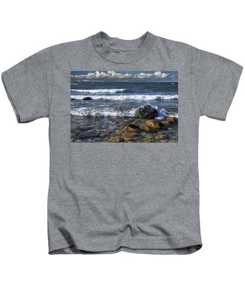 Waves Crashing Ashore At Northport Point On Lake Michigan Kids T-Shirt