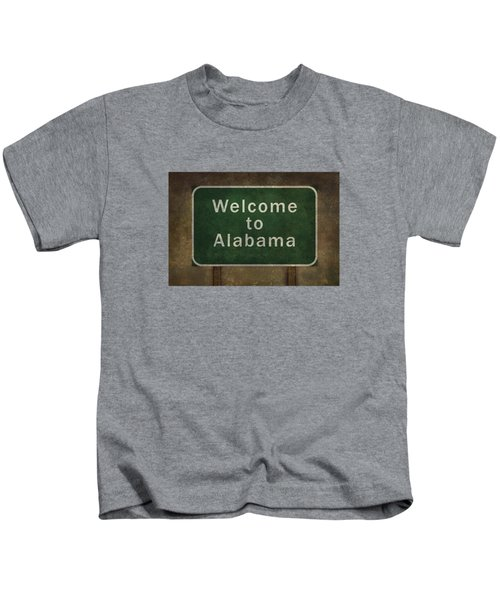 Welcome To Alabama Roadside Sign Illustration Kids T-Shirt