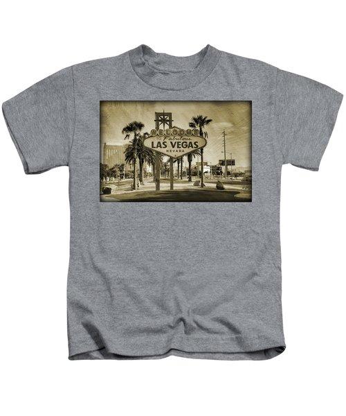 Welcome To Las Vegas Series Sepia Grunge Kids T-Shirt