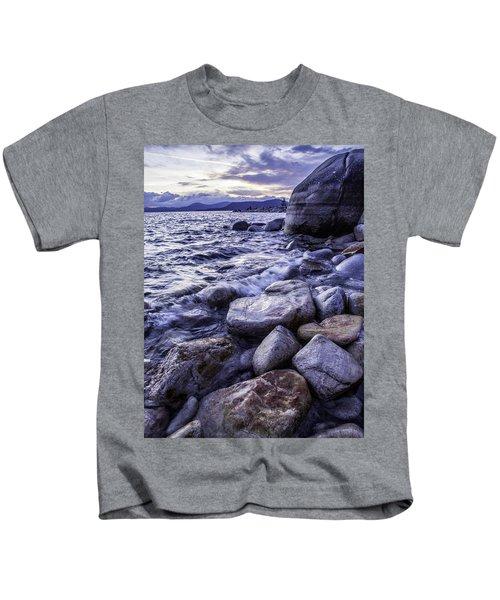 Wet Rocks At Sunset Kids T-Shirt