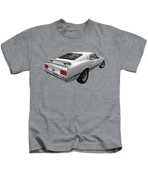 White '69 Mach 1 In Black And White Kids T-Shirt