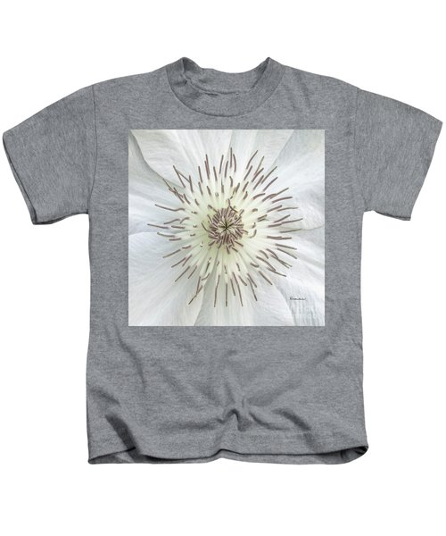 White Clematis Flower Macro 50121c Kids T-Shirt