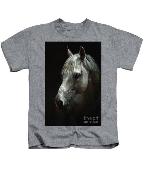 White Horse Portrait Kids T-Shirt