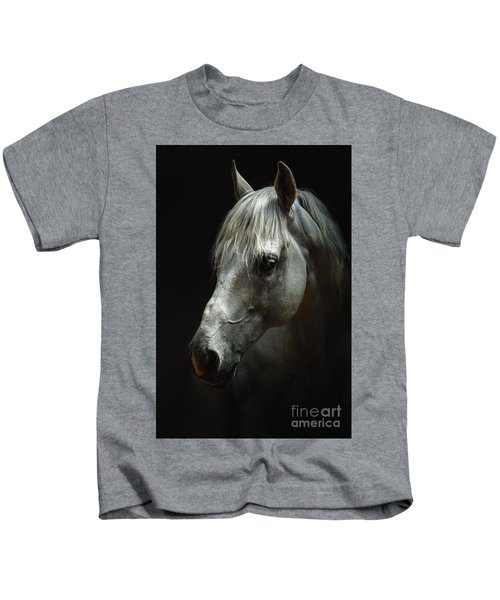 White Horse Portrait Kids T-Shirt