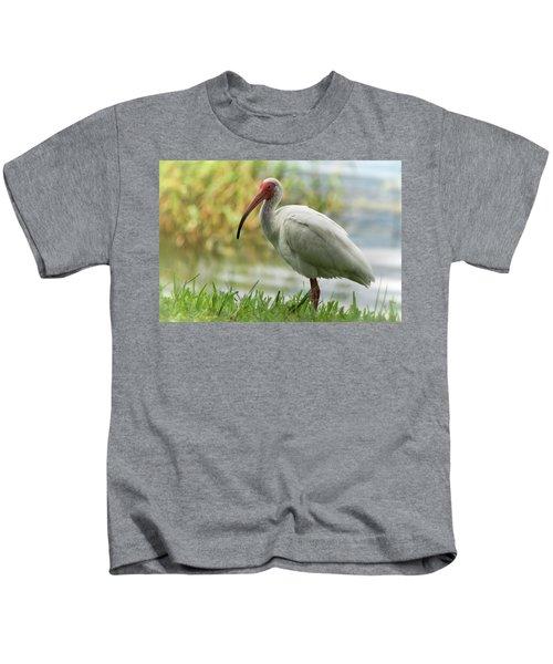 White Ibis On The Florida Shore  Kids T-Shirt by Saija Lehtonen