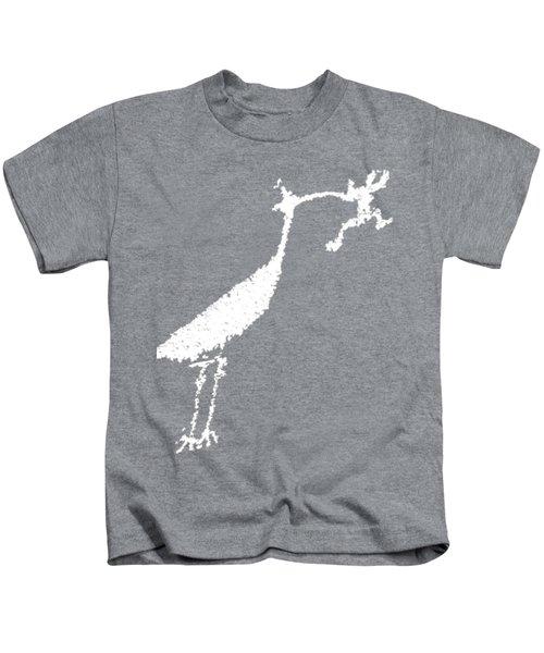 White Petroglyph Kids T-Shirt by Melany Sarafis
